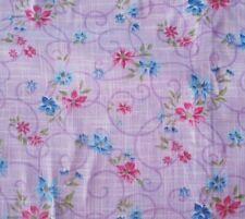 Voile Floral Lavender BTY Unbranded Pink Blue Flowers Purple Scroll