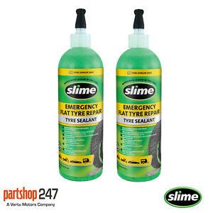 2x Slime Flat Tyre Sealant Car Van Motorbike Puncture Repair Auto Tubeless 473ml