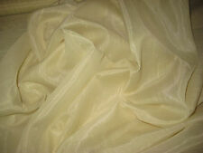 """LIGHT YELLOW NUBBED SHANTUNG SHEER FABRIC 47"""" WIDE BY THE YARD"""