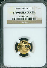 1990-P $5 GOLD EAGLE 1/10 Oz. G$5 NGC PF70 PF-70 PROOF PR70 CAMEO