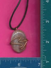 polished stone necklace 365 New copper wire wrapped