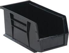 """QUS230 Quantum Plastic Storage Stacking Bin 10"""" x 4"""" x 4"""" Black Carton of 12"""