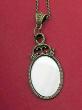 """ROMANTIC 2 1/4""""goth/Victorian LOOKING GLASS/MAKEUP MIRROR  ON 30"""" CHAIN NECKLACE"""