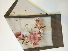 Long Vintage Off White Brown Red Pink Floral Headscarf ~ Made in Italy Gorgeous!
