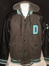 Dravus Gray Wool Blend W/Faux Leather Letterman Full Zip Jacket W/Hoodie Sz. S