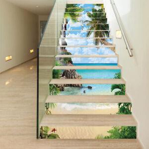 13pcs/set 3D Stair Riser Staircase Sticker Photo Mural Vinyl Wallpaper