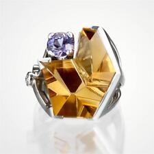 Mark Schneider Designer Citrine, Sapphire & Diamond Ring in 14k White Gold!
