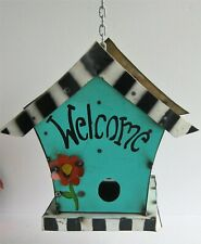 "Metal Art Decorative Hanging Bird House ""Welcome"" 12 1/2"" x 13"""