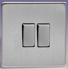 Varilight Screwless Brushed Stainless Steel 2 Gang 2 Way Rocker Light Switch 10A
