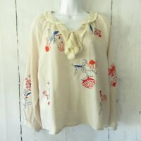 Hazel Top L Large Beige Floral Embroidered Peasant Boho Tassel Anthropologie