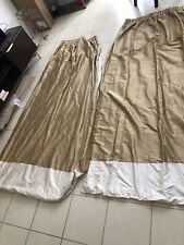 """Pair Of Gold And Cream Silk Curtains Each Panel 32"""" ( 64"""" Overall ) By 82"""""""