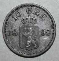 RARE! Norwegian 10 Øre Coin, 1898 - KM# 350 - Norway Oscar II Ten Ore Norge Lion