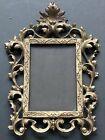 Vintage Metal Ornate GOLD Antique Frame Picture Hanging Scrolls Leaves *Rare