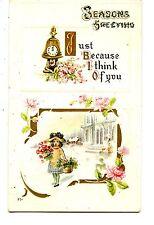 Little Girl w/ Flowers-Snow Scene-Clock Bell-Seasons Holiday Greeting Postcard