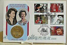 ROMA. la regina 40th ANNIVERSARIO ~ PRIMO GIORNO DI COPERTURA & £ 2 Coin ~ ALDERNEY ~ No.2004