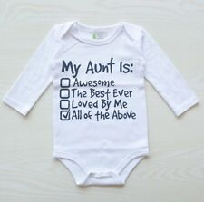 Slogan Awesome Aunt Auntie Babygrow Playsuit Popper Baby Girl Boy Infant Clothes