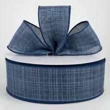 "1.5"" / 2.5"" denim navy blue wired ribbon textured linen 5 yards Choose Width"