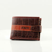 Mens Brown  Croc Patten  Real Leather Wallet By Skype New  With Coin Pouch