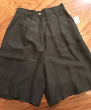 TALBOTS, Size 4, Front Pleated, Olive Green, Fully Lined, 100% Silk Shorts.  NEW