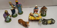 Vintage Chalkware Nativity Set 9 Pieces Made in Italy Original Box c1950s 2cm