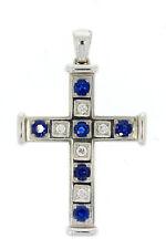 750er Weißgold Kreuz mit Saphir u Brillianten Maße 5,3x3,3 cm Gewicht 15,2 Gramm