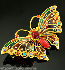 Joan Rivers Plique-a-Jour Stained Glass Pin New Bejewled Butterfly Enamel Crysta