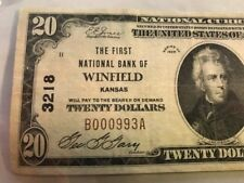 RARE KANSAS NOTE 1929 $20 First National Bank Winfield, KS - Charter #3218