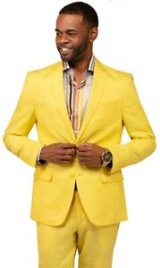 Mens Linen suit VITALI Summer Spring Cocktail party outdoor indoor L3445 Yellow