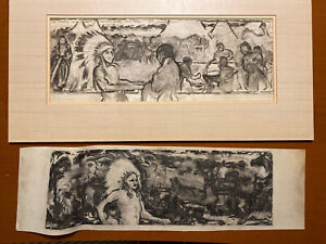 Pair Charcoal Drawings Native American Studies Federick Fritz Robbins Attributed