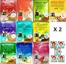 20pcs Mask Pack Facial Skin Care Malie Ultra Hydrating Essence Korean Made