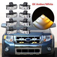 8X Amber/White Car Front Grille Strobe Light Bar Warning Hazard Emergency Beacon