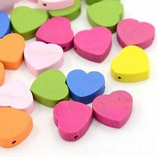 50pc Mixed Color Heart Wood Beads Jewelry Findings Dyed Bracelet Charms X-TB109Y