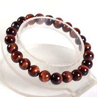 "8mm Fashion Red tiger eye round gemstone beads stretchable bracelet 7.5""AAA J31"