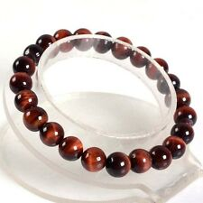 "8mm Fashion Red tiger eye round gemstone beads stretchable bracelet 7.5""AAA J31"