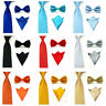 Mens Plain Solid Color Satin Bowtie Bow Neck Tie Pocket Square Handkerchief Set
