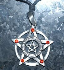 Pentagram Pendant Necklace Pagan Wicca Pewter on Cord with Display packing 40mm