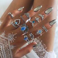 Ringset 13 Midi Fingerring Ringe Fingerspitzenring Knöchelring Silber Kristall