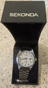 Sekonda Gents Bracelet Watch Stainless Steel & White Dial with Date Display 3729