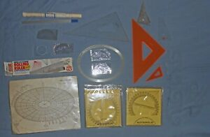 Vintage Draftsman/Engineer Estate Lot-Protractor-French Curve-Rotangle-Triangle+