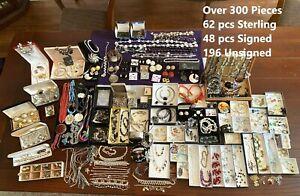HUGE Lot Over 300Pcs 62 Sterling 925 + 48 Signed Trifari Coro Napier Joan Rivers