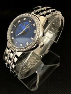 Bulova Women's Phantom Swarovski Blue Dial Bracelet Watch 96L276