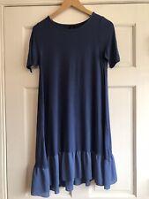 AI3 Agnes and Dora Tunic Top Shirt Blue Short Sleeve Ruffle Womens Small