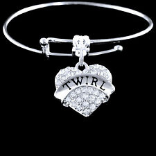Twirl bracelet  Baton  Twirling  Twirler best jewelry gift  crystal heart charm