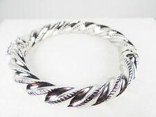 MILOR BRONZE Amazing 18K White Gold Plated Hinged Swirl Bangle Bracelet