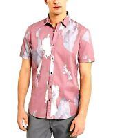 INC International Concepts Mens Smoked Rose Button Up Shirt Short Sleeves