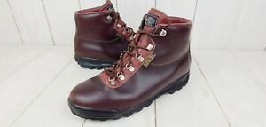 Vintage Vasque Mens Leather Skywalk Hiking Boots 9.5 Burgundy Brown Made Italy