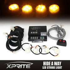 120W 4 LED Strobe Lights Yellow/Amber Bulbs Hide-A-Way Emergency Hazard Light