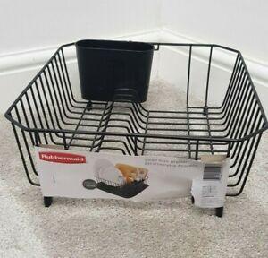 RUBBERMAID Small Dish Drainer Black Utensil Cup NEW 37 x 33cm Kitchen Storage
