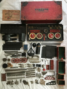 1928 GILBERT 7-1/2 ERECTOR Set Excel Wood Box, WHITE TRUCK + Parts & Restoration