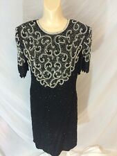 Stenay India Silk Formal Cocktail Dress Embellished Pearl Style Sequin Sz 8